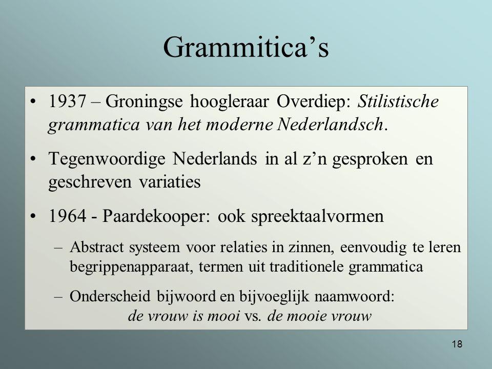 Grammitica's 1937 – Groningse hoogleraar Overdiep: Stilistische grammatica van het moderne Nederlandsch.