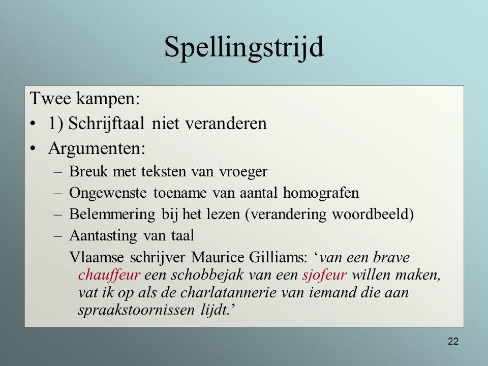 Spellingstrijd Twee kampen: 1) Schrijftaal niet veranderen Argumenten: