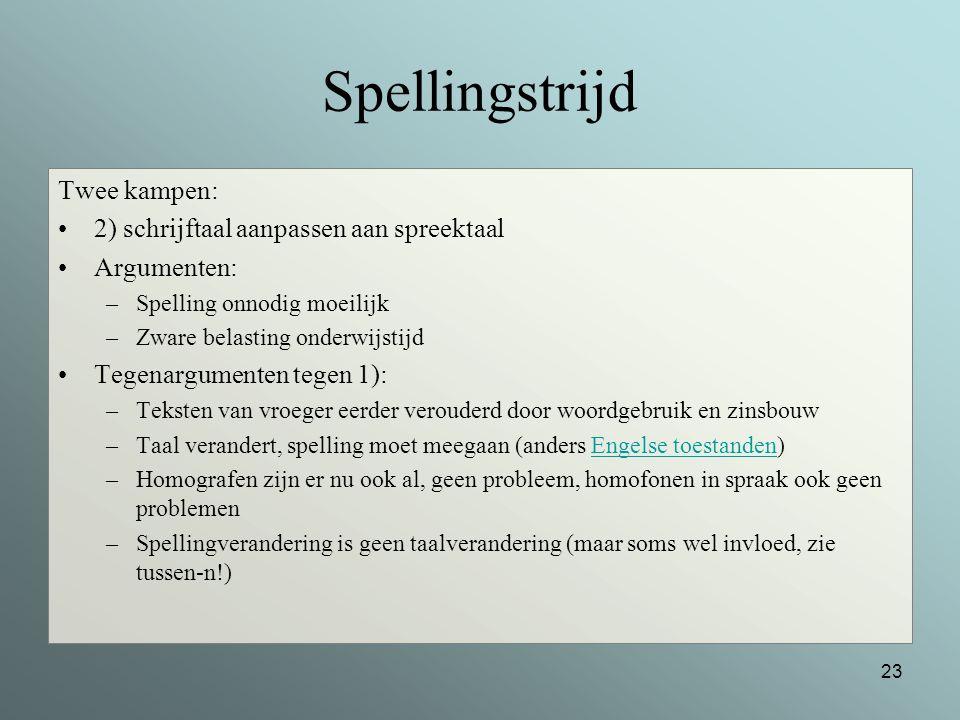 Spellingstrijd Twee kampen: 2) schrijftaal aanpassen aan spreektaal