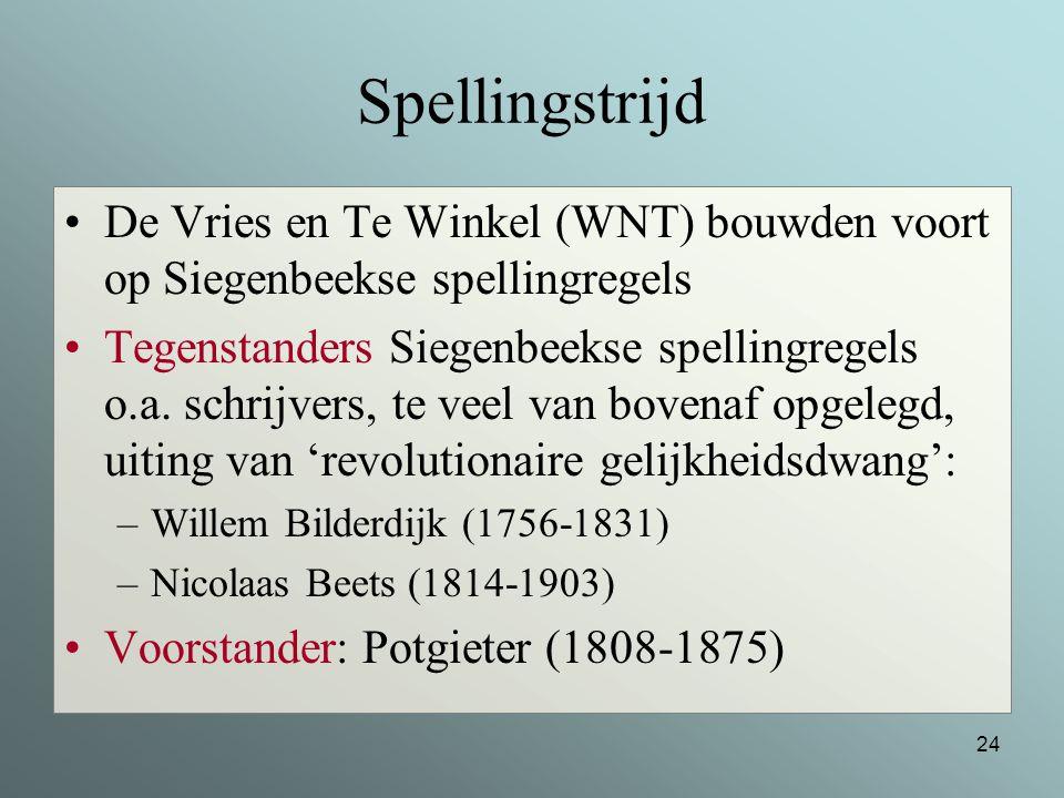 Spellingstrijd De Vries en Te Winkel (WNT) bouwden voort op Siegenbeekse spellingregels.