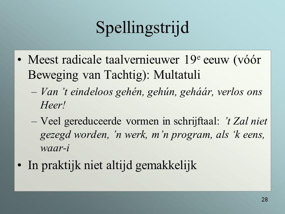 Spellingstrijd Meest radicale taalvernieuwer 19e eeuw (vóór Beweging van Tachtig): Multatuli.