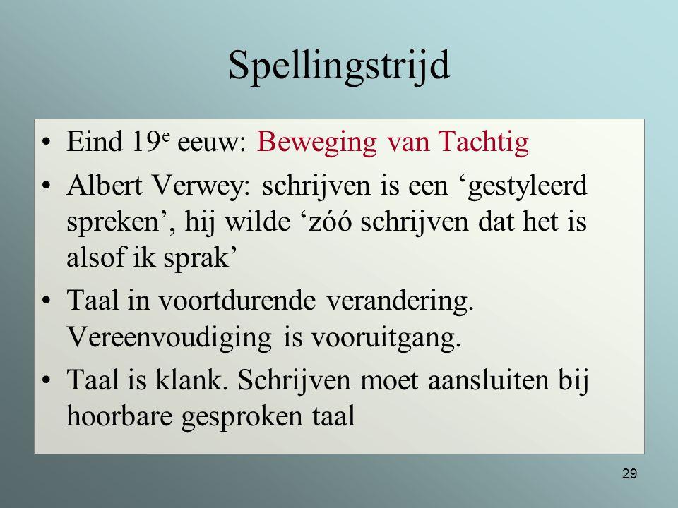 Spellingstrijd Eind 19e eeuw: Beweging van Tachtig