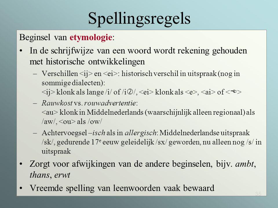 Spellingsregels Beginsel van etymologie: