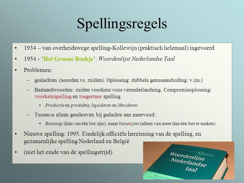 Spellingsregels 1934 – van overheidswege spelling-Kollewijn (praktisch helemaal) ingevoerd.