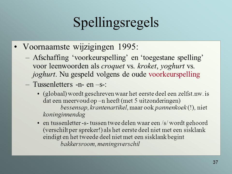 Spellingsregels Voornaamste wijzigingen 1995:
