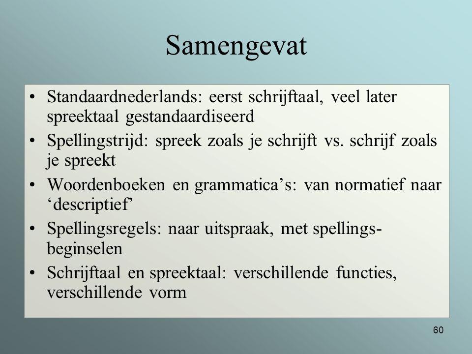 Samengevat Standaardnederlands: eerst schrijftaal, veel later spreektaal gestandaardiseerd.