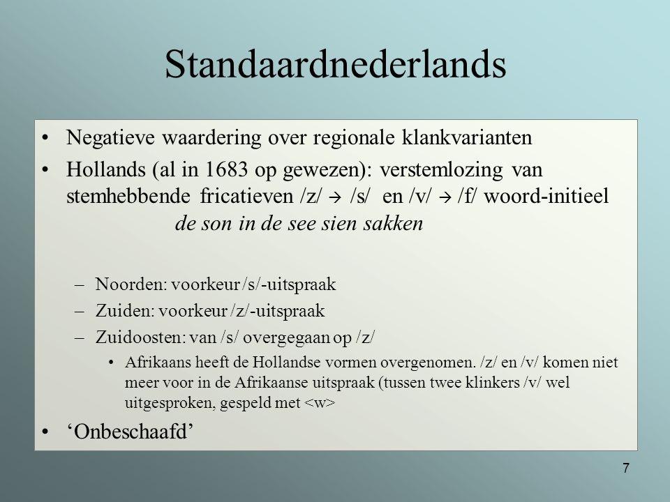 Standaardnederlands Negatieve waardering over regionale klankvarianten