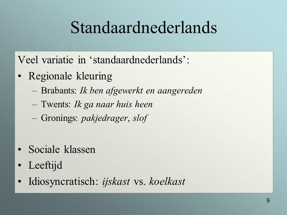 Standaardnederlands Veel variatie in 'standaardnederlands':