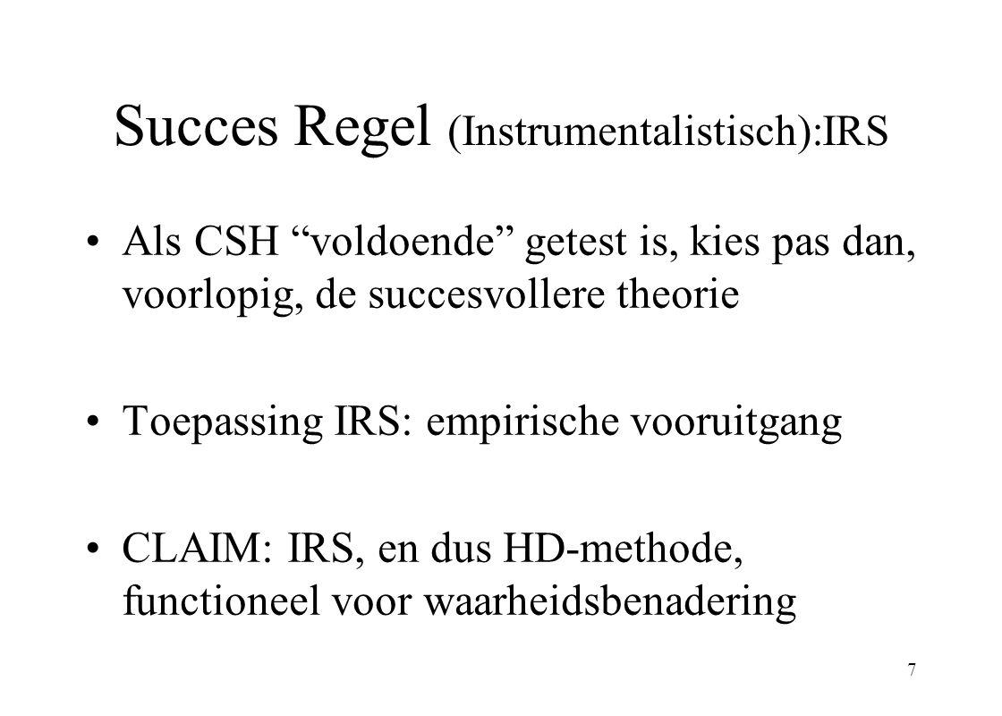 Succes Regel (Instrumentalistisch):IRS