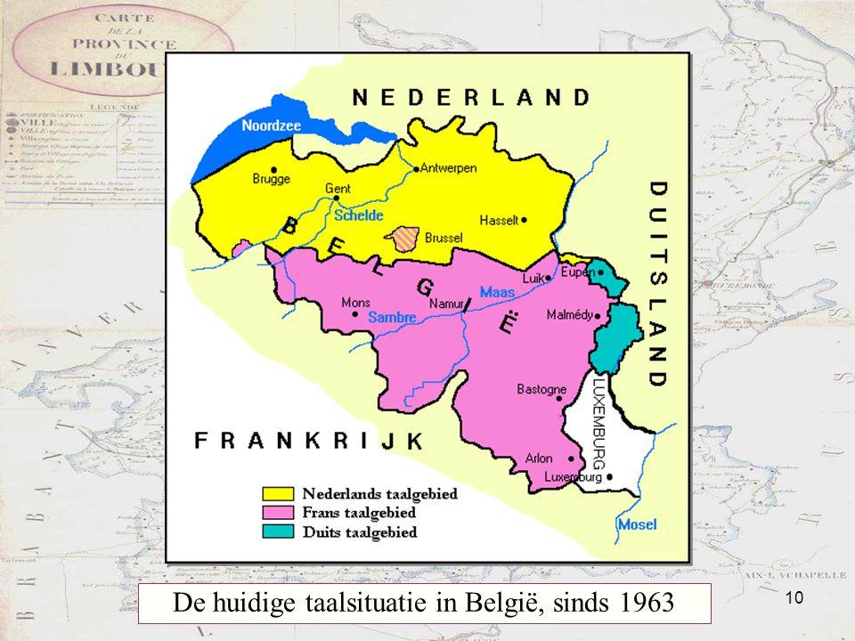 De huidige taalsituatie in België, sinds 1963