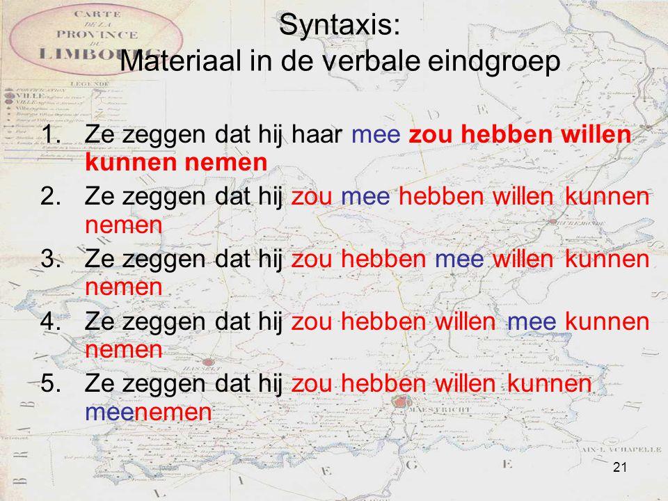 Syntaxis: Materiaal in de verbale eindgroep