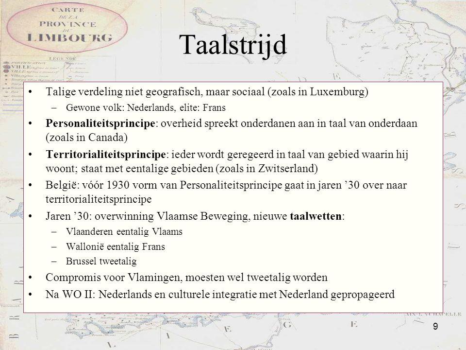 Taalstrijd Talige verdeling niet geografisch, maar sociaal (zoals in Luxemburg) Gewone volk: Nederlands, elite: Frans.