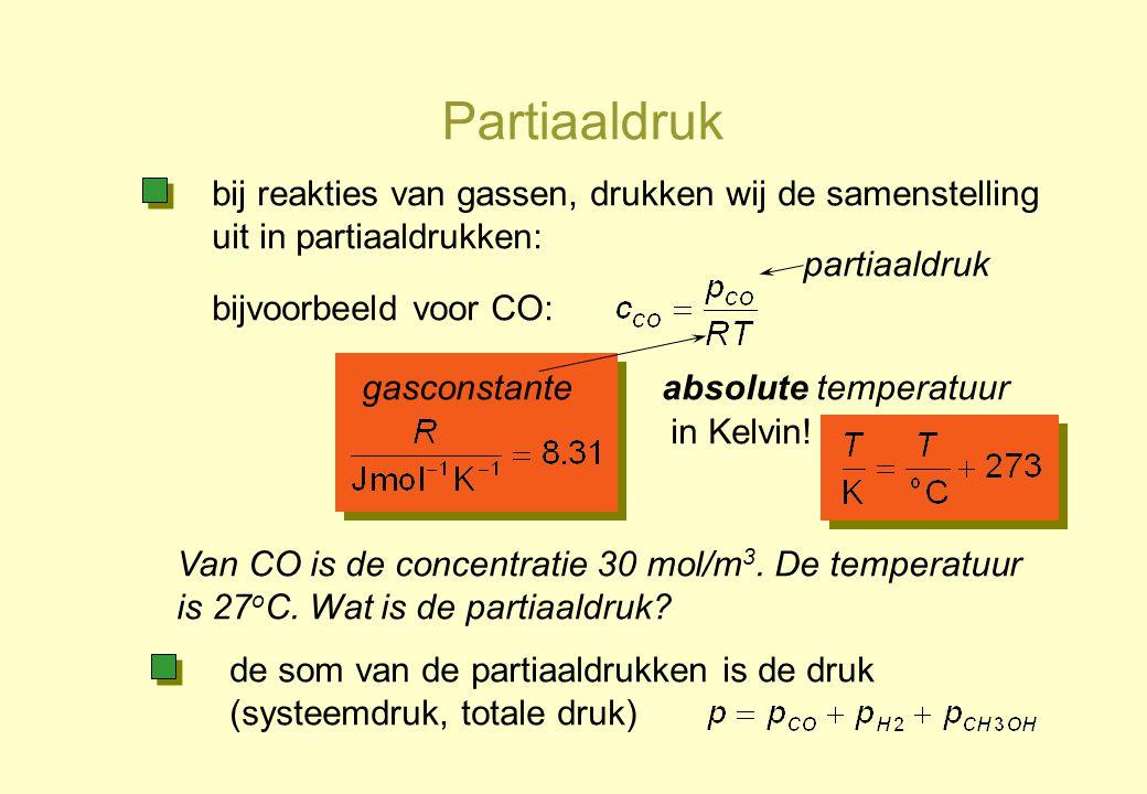 Partiaaldruk bij reakties van gassen, drukken wij de samenstelling uit in partiaaldrukken: partiaaldruk.