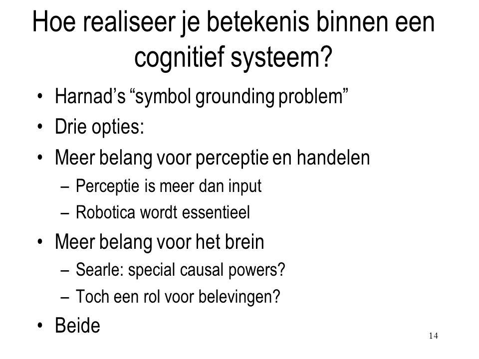 Hoe realiseer je betekenis binnen een cognitief systeem