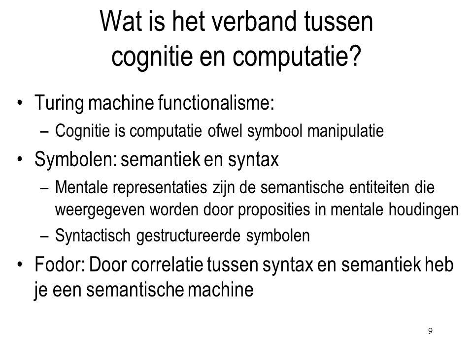 Wat is het verband tussen cognitie en computatie