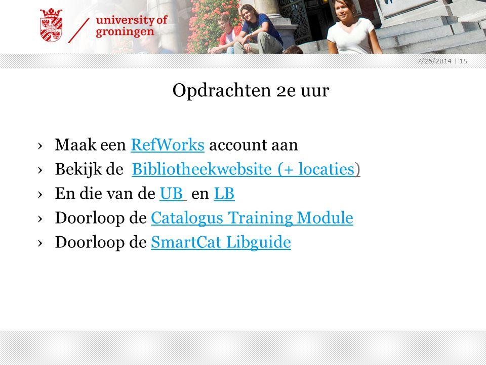 Opdrachten 2e uur Maak een RefWorks account aan