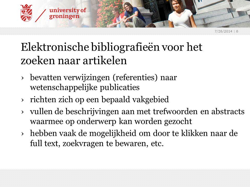Elektronische bibliografieën voor het zoeken naar artikelen