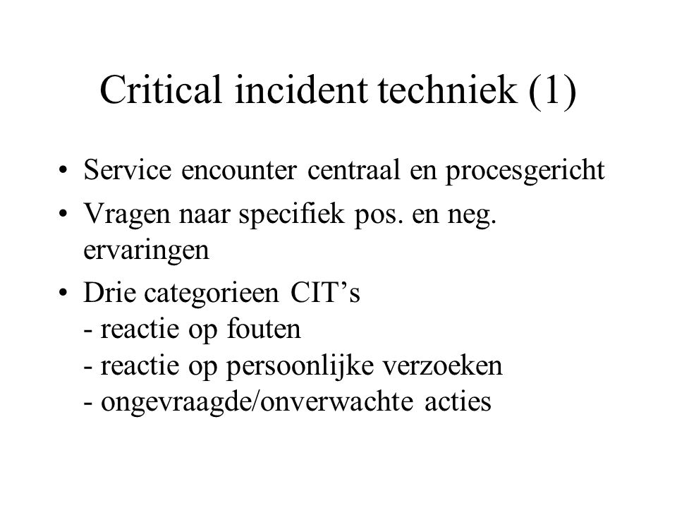 Critical incident techniek (1)