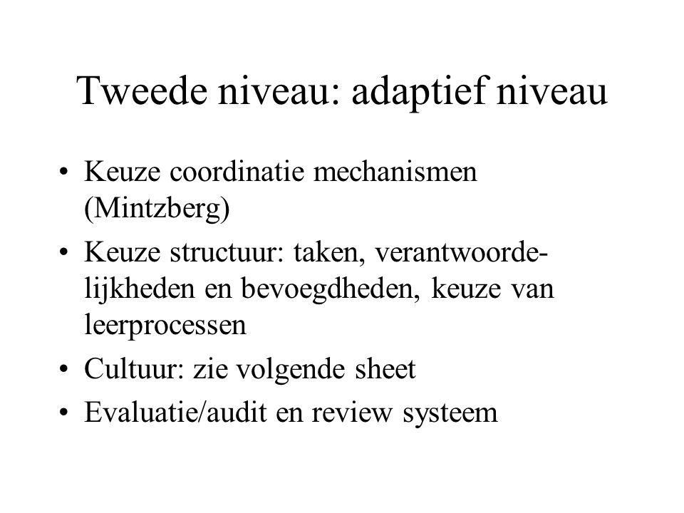 Tweede niveau: adaptief niveau
