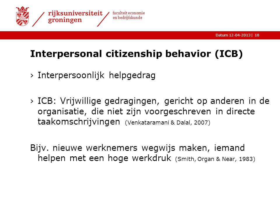 Interpersonal citizenship behavior (ICB)