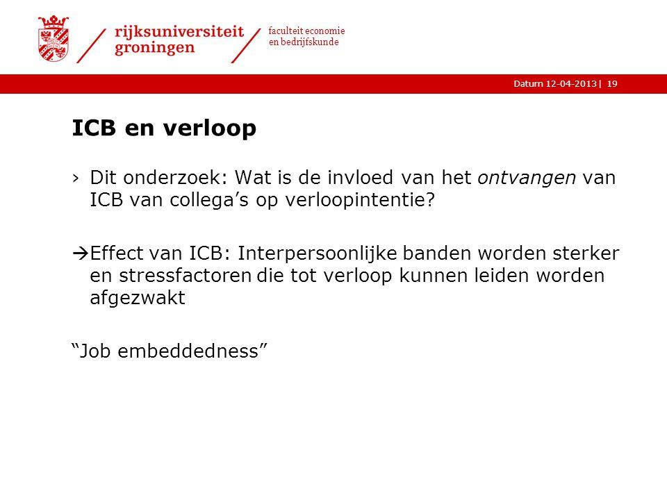 ICB en verloop Dit onderzoek: Wat is de invloed van het ontvangen van ICB van collega's op verloopintentie