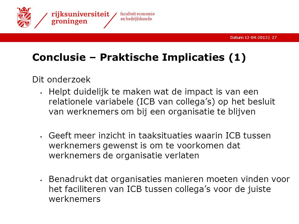 Conclusie – Praktische Implicaties (1)