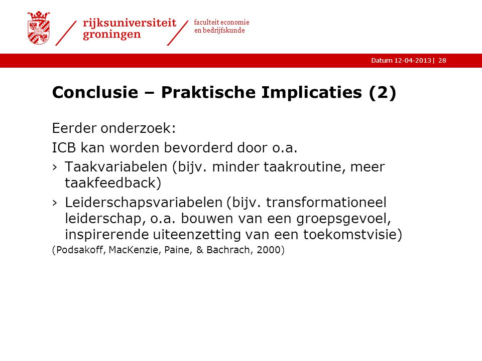 Conclusie – Praktische Implicaties (2)