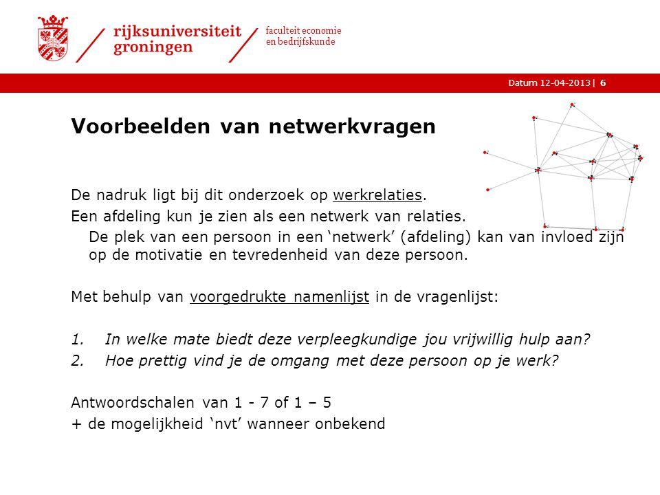 Voorbeelden van netwerkvragen