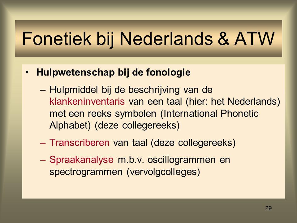 Fonetiek bij Nederlands & ATW