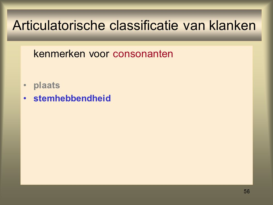 Articulatorische classificatie van klanken