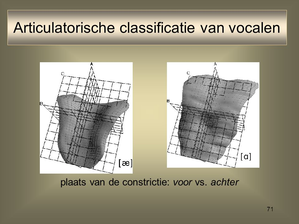 Articulatorische classificatie van vocalen