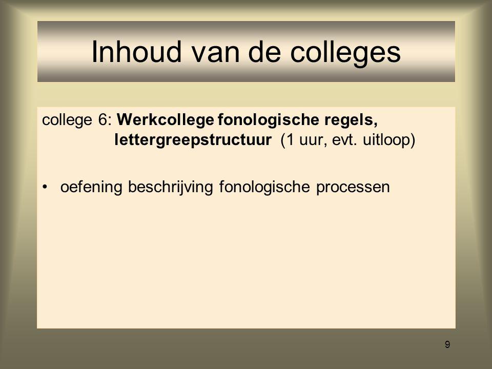 Inhoud van de colleges college 6: Werkcollege fonologische regels, lettergreepstructuur (1 uur, evt. uitloop)