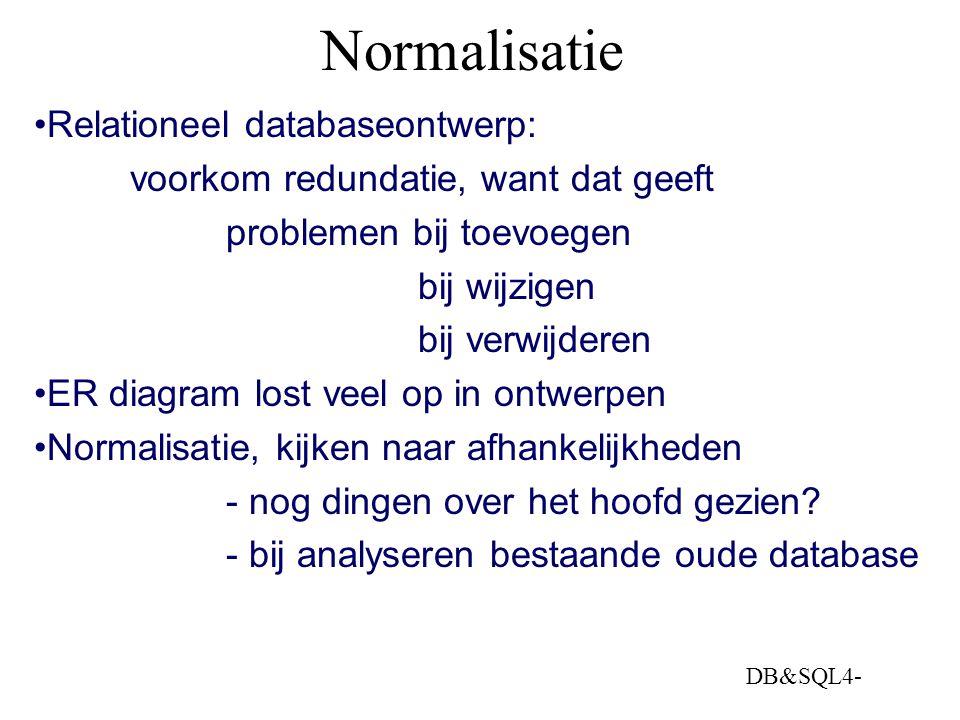 Normalisatie Relationeel databaseontwerp: