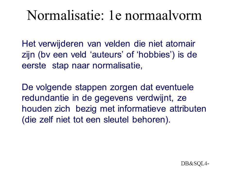 Normalisatie: 1e normaalvorm