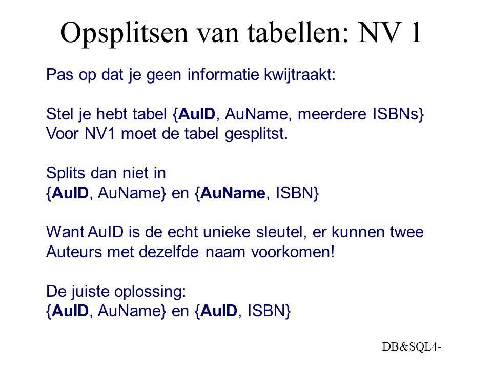 Opsplitsen van tabellen: NV 1