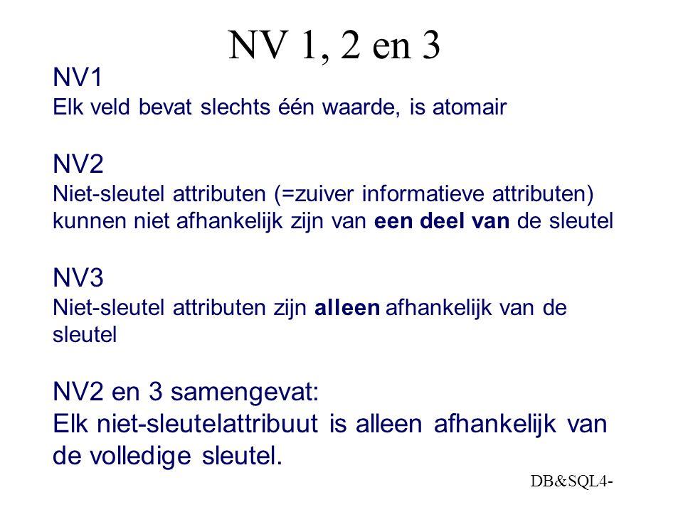 NV 1, 2 en 3 NV1 NV2 NV3 NV2 en 3 samengevat: