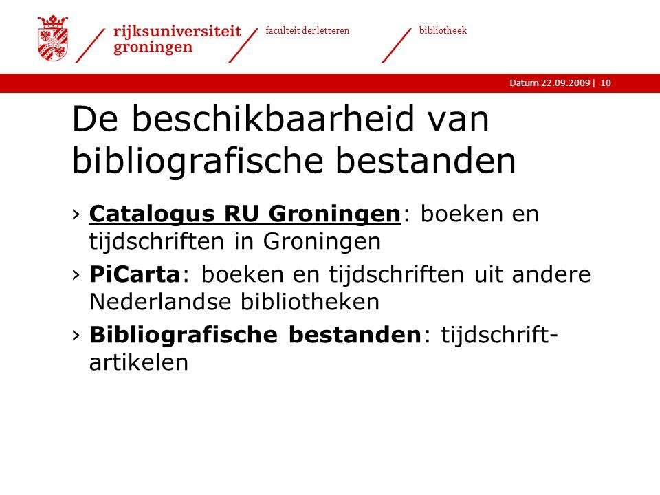 De beschikbaarheid van bibliografische bestanden