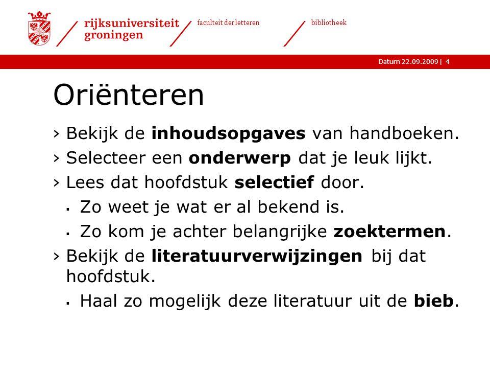Oriënteren Bekijk de inhoudsopgaves van handboeken.