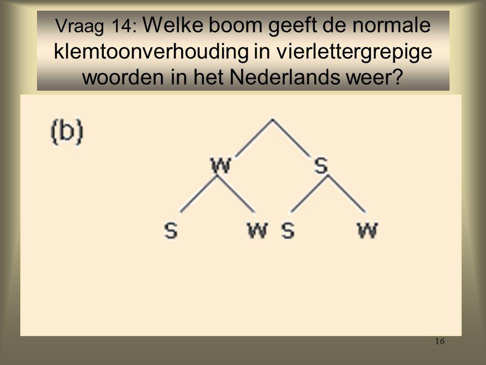 Vraag 14: Welke boom geeft de normale klemtoonverhouding in vierlettergrepige woorden in het Nederlands weer