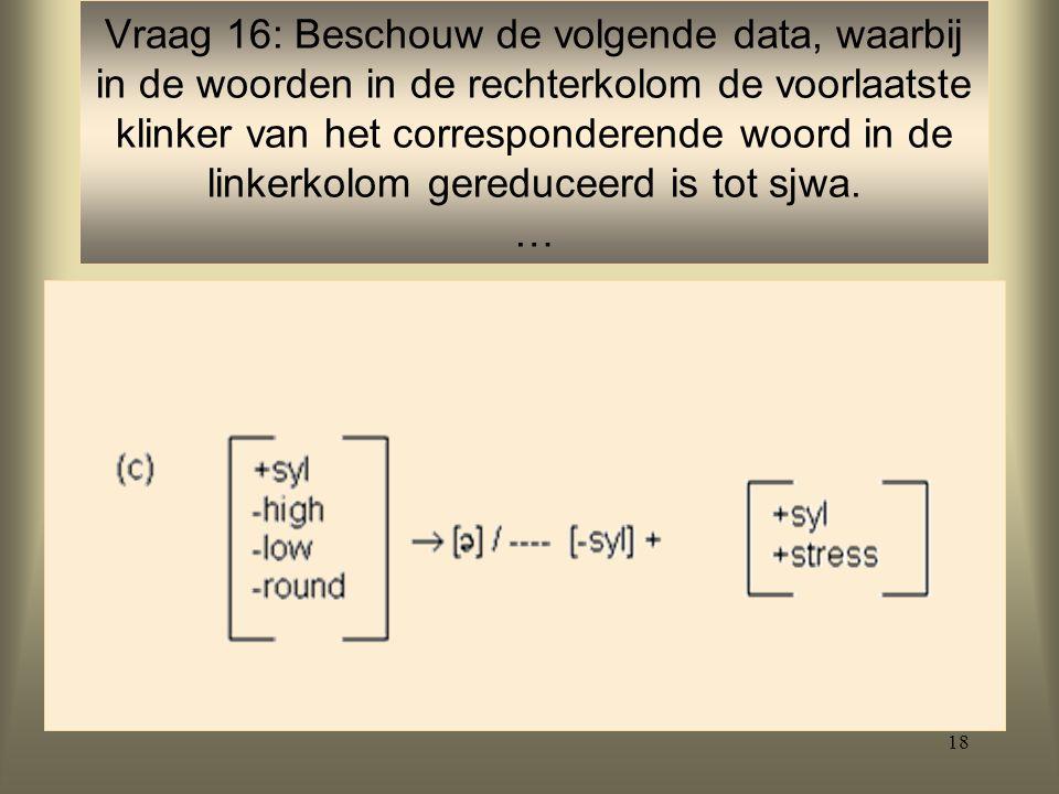 Vraag 16: Beschouw de volgende data, waarbij in de woorden in de rechterkolom de voorlaatste klinker van het corresponderende woord in de linkerkolom gereduceerd is tot sjwa.