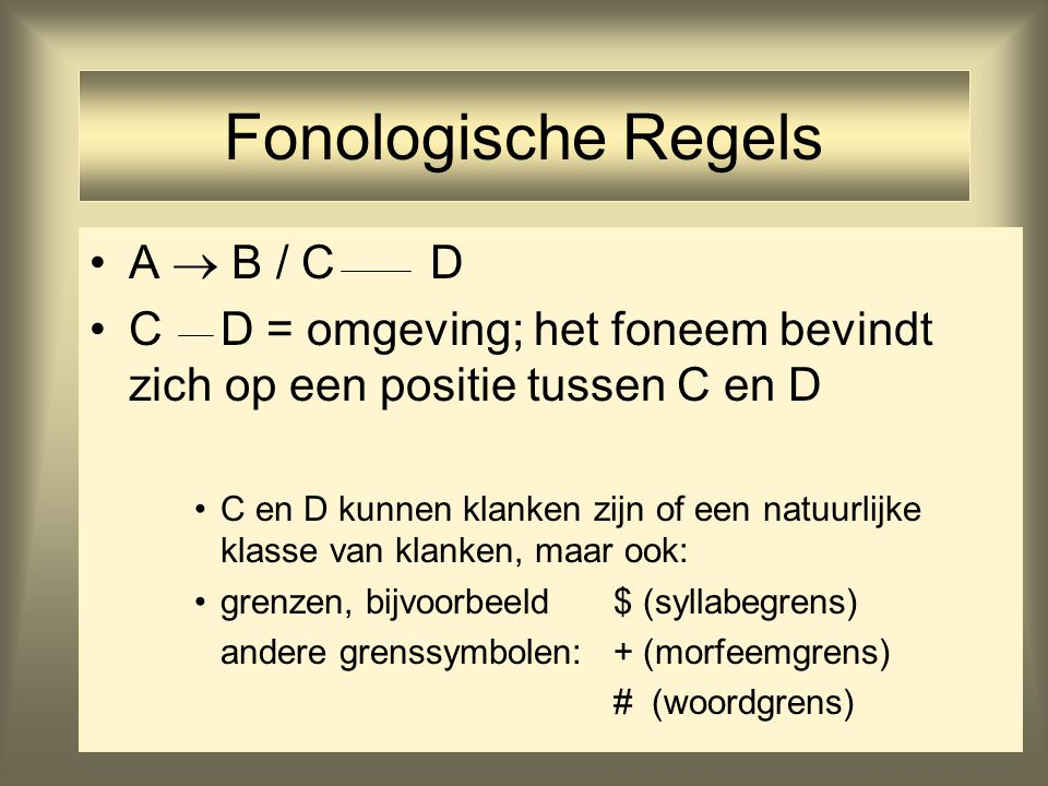 Fonologische Regels A  B / C D