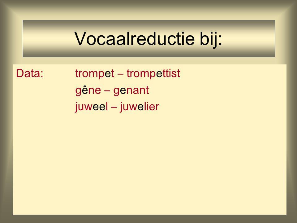 Vocaalreductie bij: Data: trompet – trompettist gêne – genant