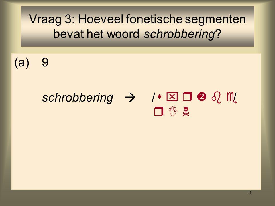 Vraag 3: Hoeveel fonetische segmenten bevat het woord schrobbering