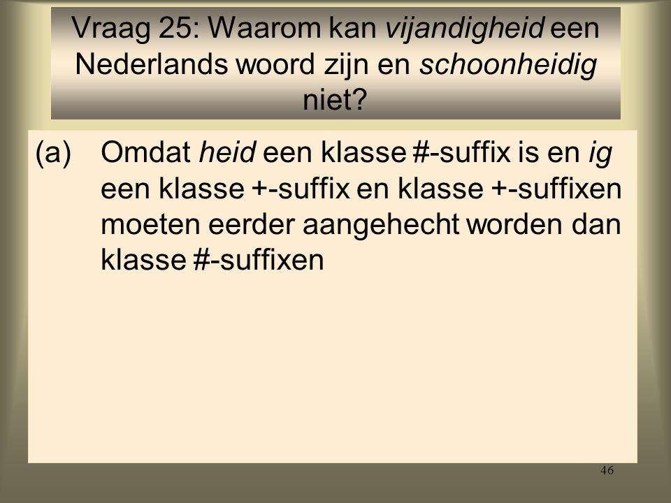 Vraag 25: Waarom kan vijandigheid een Nederlands woord zijn en schoonheidig niet
