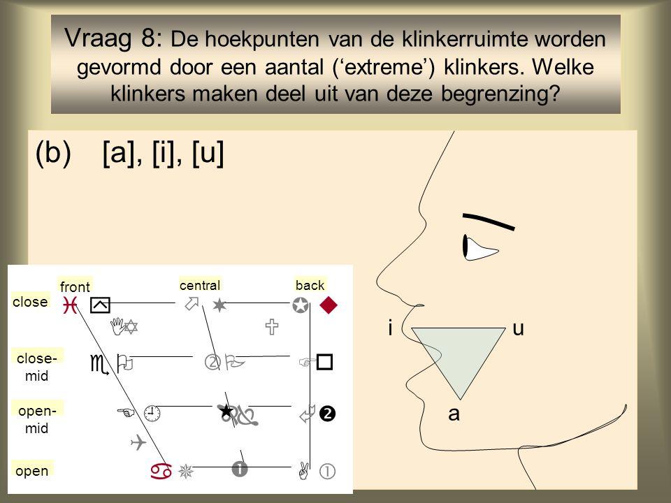 Vraag 8: De hoekpunten van de klinkerruimte worden gevormd door een aantal ('extreme') klinkers. Welke klinkers maken deel uit van deze begrenzing
