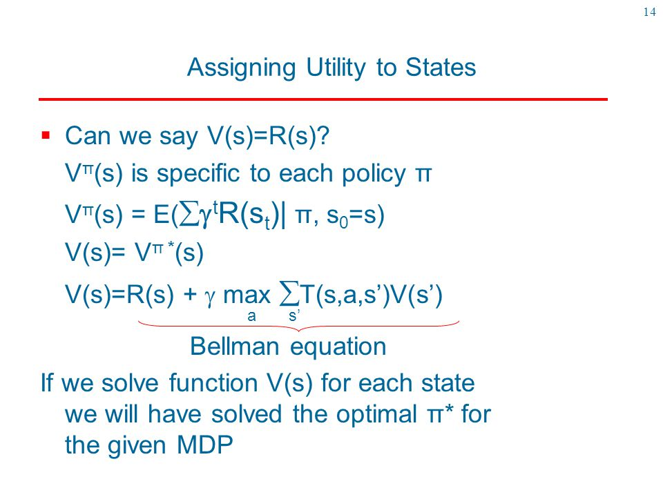 Assigning Utility to States