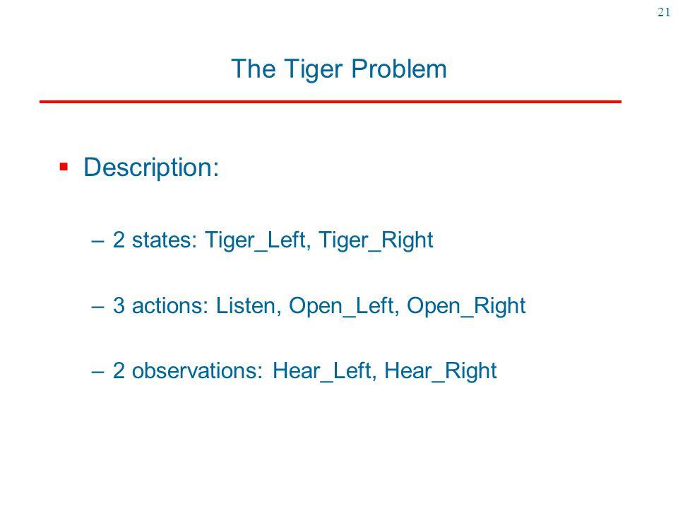 The Tiger Problem Description: 2 states: Tiger_Left, Tiger_Right