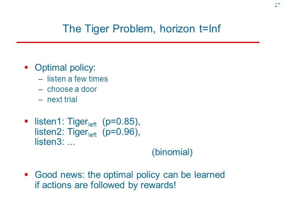 The Tiger Problem, horizon t=Inf