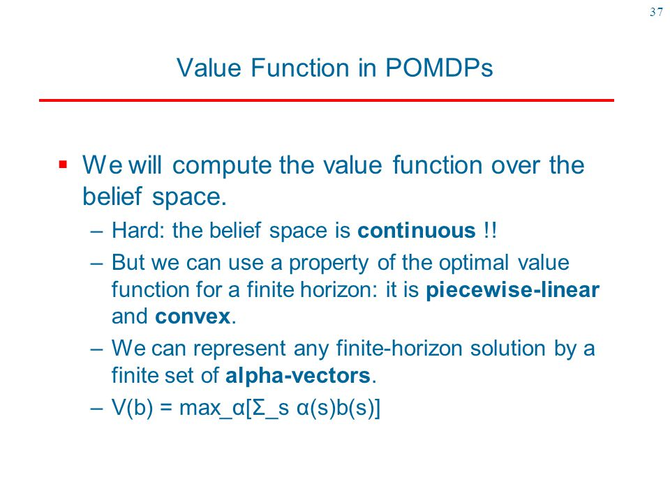 Value Function in POMDPs