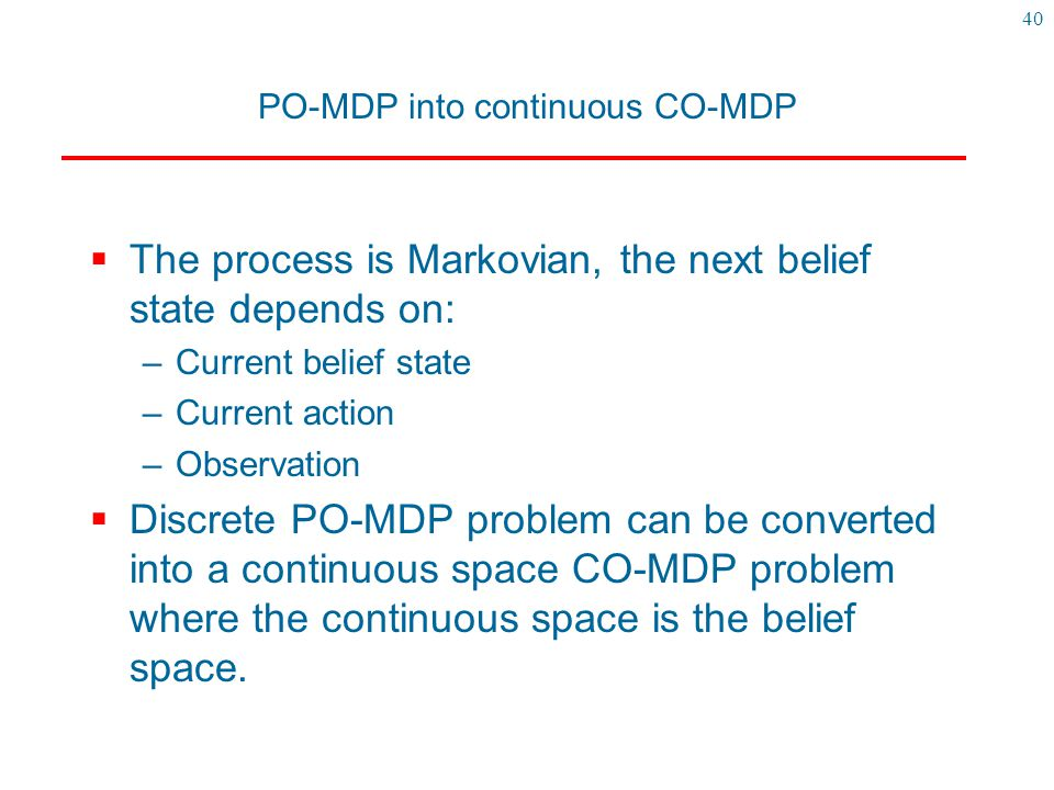 PO-MDP into continuous CO-MDP